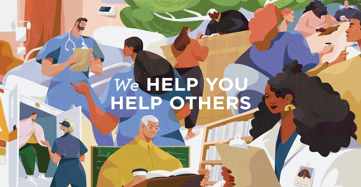 illustration of many people with caption: We Help You Help Others